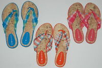PLAID Flip Flop Sandals WOMENS size 6 7 AQUA Pink RED Orange PURPLE Yellow