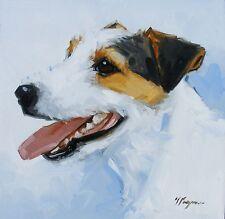 Pintura al óleo originales-Retrato de un Jack Russell Perro-por J Payne