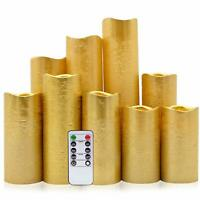 Flameless Candles Flickering LED Gold Coated Pillar Candle with Remote Control