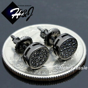 925 STERLING SILVER 6MM ICY DIAMOND BLACK ROUND SCREW BACK STUD EARRING*BE108