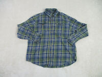 Eddie Bauer Button Up Shirt Adult Large Green Blue Plaid Long Sleeve Casual Mens