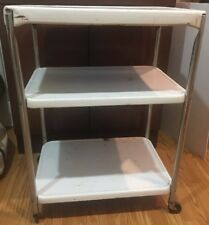 Vintage Cosco 3 Tier Kitchen Cart Rolling Utility Shelf Storage White