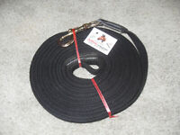"BLACK 29' x 1"" Horse Training Lunge Line / lead w/ brass snap & LOOP hand stop"
