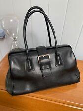 authentic PRADA handbag vintage black genuine leather doctors bag