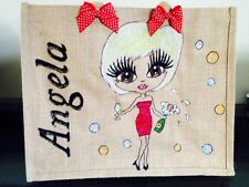 PERSONALISED LARGE HAND PAINTED JUTE BAG GIFTS Amy Disney Theme Or Character