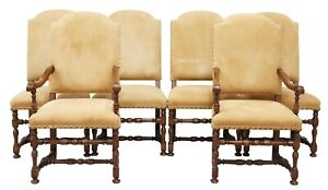 Set 6 French Louis XIII Style Leather Baroque Dining Side 2 Arm Chairs