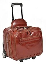 Real Leather Laptop Pilot Case Business Weekend bag on wheels Sturdy Cognac