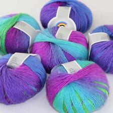Sale Diy 6Ballsx50g Soft Cashmere Wool Colorful Rainbow Shawl Hand Knit Yarn 09