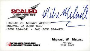 """Handsigniertes Autogramm (Visitenkarte) von Michael """"Mike"""" Melvill - ASTRONAUT"""