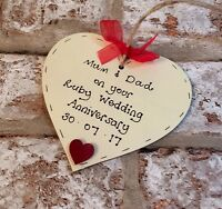 ruby 40th Wedding Anniversary Personalised gift wooden heart