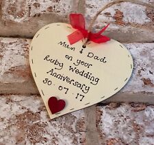 ruby/40th wedding anniversary Personalised gift wooden heart