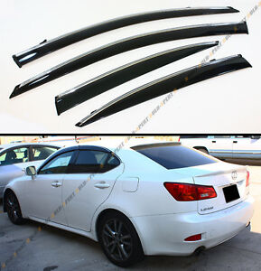 FOR 2006-2013 LEXUS IS250 IS350 IS-F SLIM VIP STYLE CLIP ON SMOKED WINDOW VISOR