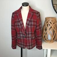 Talbots Womens Wool Blend Peplum Blazer Jacket 12 Red Gray Plaid