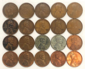 Wheat Penny Collection 1909-VDB 1931-D BU Steel 20 Coins Lot All Different Dates