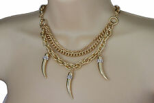 Women Gold Necklace Metal Multi Chain Link Long Horn Spike Fashion Jewelry Charm