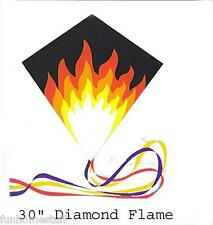 "30"" FLAME DIAMOND NYLON FLYING IN WIND KITE + LINE, WINDER, & SKYTAILS"