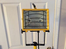 "Vintage UL Listed Model 14F7 INDUSTRIAL  TRIPOD FLOOR LAMP Yellow 70"" metal"