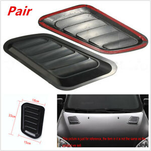 Pair of Car Decorative Air Flow Intake Scoop Turbo Bonnet Vent Cover Hood Superb