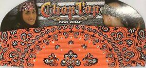 CHOP TOP ORANGE PAISLEY W/RHINESTONES DOO WRAP HEADBAND BANDANA BIKER DOO RAG