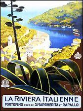 Viaje italiano Riviera Portofino Puerto Mar Italia Vintage Poster Print 987 pylv