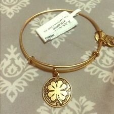 Alex and Ani Four Leaf Clover Lucky Russian Gold Charm Bangle Bracelet NWT