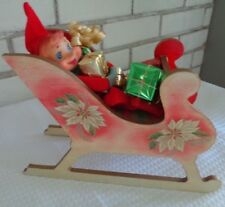 Vintage Christmas Pixie elf Gnome in Homemade & Hand painted sled 1960s