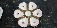 RARE ANTIQUE OYSTER PLATE PINK & BROWN