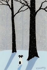 Smooth Fox Rat Parson Terrier Dog Winter Large Art Print Todd Young Falling Snow