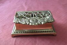 VINTAGE SOLID BRASS SUNFLOWER DOUBLE ROLL DESK POSTAGE STAMP HOLDER
