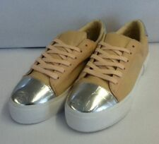 Ladies UK Size 7 Miss KG Loco Nude/Sliver Flat Lace Trainers/Sneakers KurtGeiger
