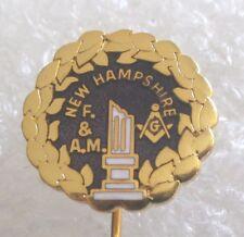 New Hampshire Mason F. & A.M. Freemason Widow Broken Column Mourning Stick Pin