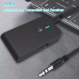 2 in1 Wireless Bluetooth Transmitter Receiver Stereo AUX Audio Music Adapter New