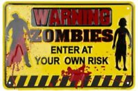 Warning Zombies Parking Sign