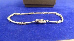 "9ct White Gold Cubic Zirconia TENNIS Ladies Bracelet 7"" Hm 2mm ks1"