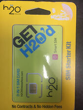 H2O Wireless Tri Cut 4G Lte Sim Card! At&T Network!- No Contract!