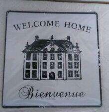 Vintage Wandschild Blechbild Metallschild Bild Blech 20x20cm Welcome Home