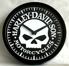 "HARLEY DAVIDSON MOTORCYCLES ""WILLIE-G"" THEMED WALL CLOCK.  SILENT MOVEMENT."