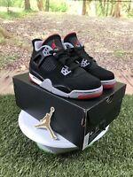 Nike Air Jordan 4 Retro Bred GS (2019) Black Red Size 4Y W/Receipt 408452-060
