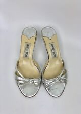 JIMMY CHOO Mirror Leather Low Heel Strappy Sandals Slides Peep toe 37 Silver 7