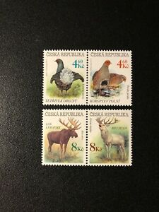 Czech Czechoslovakia 1998  WILD ANIMALS , BIRDS , Sc 3043a - 3045a , MNH