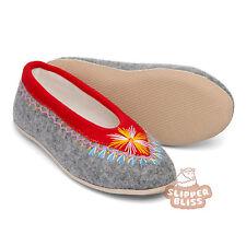 100 Genuine Woolen Felt Slippers for Women. Hand Embroidered. Best on EBAY UK 5 EU 38 Red & Grey