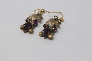 A Superb Antique Victorian 15ct Yellow Gold Garnet Dropper Earrings Not 9ct 18ct