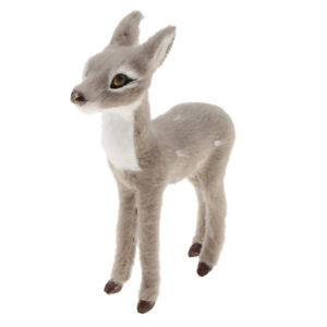 Mini Chritmas Synthetic Deer Doll Xmas Ornament Home Decor Standing Gray