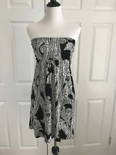 Soma Dress Dressed Up Casual Violet Strapless Paisley Black XS Brand New! $69