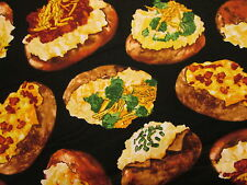 Baked Potatoe Snacks Food Potatoes with Topping Cotton Fabric 14 Inch Scrap Cut
