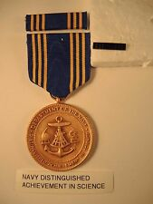 Rare Navy Distinguished Achievement in Science medal, ribbon bar, lapel pin