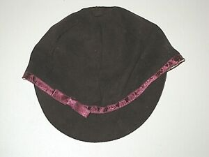 BABY GAP BURGUNDY FAUX SUEDE RIDING CAP HAT GIRL'S SIZE 0-6 MONTHS MOS.