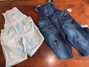 💜 Lot Justice Girls Flip Sequin Destructed Overalls & Cat Jeans 14 Nwt Clothes