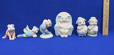 Pig Figurines Ceramic Girls Exercising Boy Girl Couple Chair Sitting Lot of 6