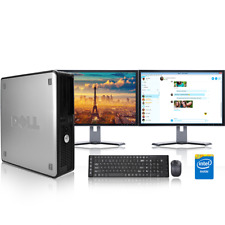 "Windows 10 Cheap Fast Dell Core Full System 19"" Dual Monitor Desktop Computer PC"